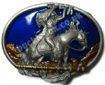 INDIAN ON HORSE - GREAT SPIRIT OFFERING Belt Buckle + display stand